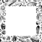 Vector square frame of vegetables Stock Images