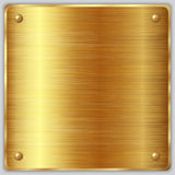 Vector Square Gold Metallic Plate With Screws Stock Photography