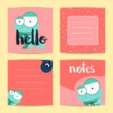 Vector square note cards with lettering and cute cartoon monsters on blots background. Red card note illustration Royalty Free Stock Photo