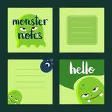 Vector square note cards set with cartoon monsters Stock Photography