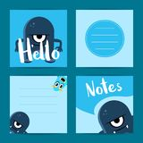 Vector square note cards set with cute cartoon monsters Royalty Free Stock Photos