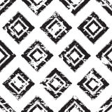 Vector square ornament grunge seamless pattern. Abstract black a Royalty Free Stock Photos