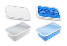 Vector square plastic container covered with foil and labeled. Royalty Free Stock Photography