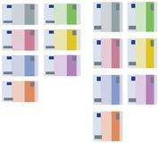 Vector square rectangle collection of euro banknotes, all types Stock Image