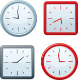 Vector square and round clocks. Royalty Free Stock Images