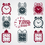Vector squared 3d alarm clocks with clock bell, decorative wake Stock Photos
