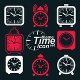 Vector squared 3d alarm clocks with clock bell. Decorative wake up conceptual icons collection. Graphic design elements Stock Photography