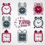 Vector squared 3d alarm clocks with clock bell, decorative wake Stock Photos