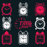 Vector squared 3d alarm clocks with clock bell, decorative wake Stock Image