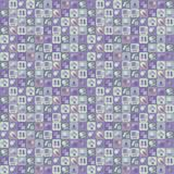 Vector squares tile purple with drawings from geometric shapes of different tones with a glare seamless pattern. Vector squares tile purple with drawings from stock illustration