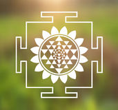 Vector Sri Yantra Illustration with Lotus Flower on a Natural Background. Vector Sri Yantra Illustration with Lotus Flower on a Forest Background royalty free illustration