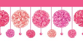 Vector Srt of Dangling Pink Birthday Party Paper Pom Poms and Beads Set Horizontal Seamless Repeat Border Pattern. Great. For handmade cards, invitations. Party Stock Photo