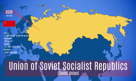 Vector. Sschematic map of the Soviet Union USSR. Vector illustration. The schematic map, the flag and the main data of the Soviet Union USSR Royalty Free Stock Image
