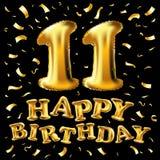 Vector 11st торжество с confetti воздушных шаров золота, яркие блески дня рождения дизайн для вашей поздравительной открытки, ден Стоковые Фотографии RF