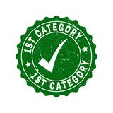 1St Category Scratched Stamp with Tick. Vector 1St Category grunge stamp seal with tick inside. Green 1St Category watermark with grunge style. Round rubber stock illustration