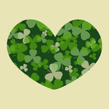 Vector St Patrick's day card. Green clover leaves on clover heart shape and white or beige background Royalty Free Stock Photos