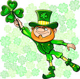 vector St. Patrick's Day leprechaun with clover royalty free stock photography