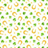 St. Patrick`s day seamless pattern with shamrock, gold coins and horseshoes. Vector illustration. Royalty Free Stock Photo
