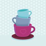 Vector stack of coffee mugs and cups. Tea and coffee poster template - bright illustration in flat style Royalty Free Stock Photos