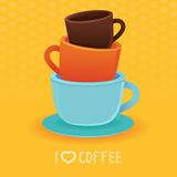 Vector stack of coffee mugs and cups. Tea and coffee poster template - bright illustration in flat style Stock Photo