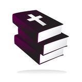 Vector stack of holy bibles. Vector illustration of three bibles one upon another, related to holy and faith Stock Photo