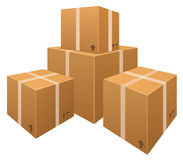 Vector stacks of cardboard boxes Stock Photo