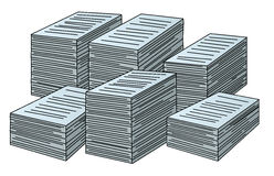 Vector stacks of papers stock photography