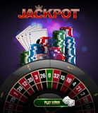 Vector stacks of red, blue, green casino chips top side view, playing cards poker four aces, jackpot glossy text, black roulette. Wheel and glow purple vector illustration