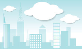 Vector Stadt und Wolke im vecto Hintergrund des blauen Himmels Stockbild