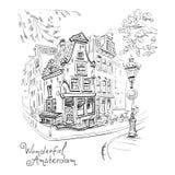 Vector Stadtansicht von Amsterdam-Haus und -laterne Stockfotos