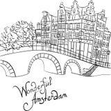 Vector Stadtansicht von Amsterdam-Kanal und -brücke vektor abbildung