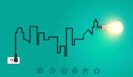 Vector Stadtbild mit Glühlampe ide des kreativen Drahtes Stockbild