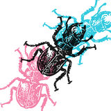 Vector stag-beetles in abstract composition. Royalty Free Stock Image