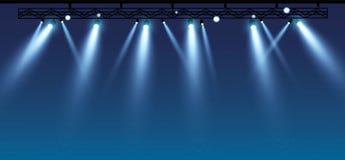Vector stage with set of blue spotlights. Blue stage lights. esp 10 royalty free illustration
