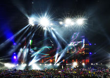 Vector Stage Spotlight with Laser rays in the night Stock Photos