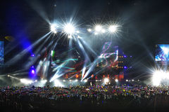 Vector Stage Spotlight with Laser rays in the night Royalty Free Stock Photography