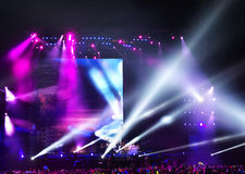 Vector Stage Spotlight with Laser rays in the night Royalty Free Stock Photos
