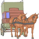 Vector. Stagecoach with horses. royalty free stock image
