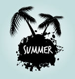 Vector stain with palm trees Royalty Free Stock Images