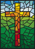 Vector stained glass cross Royalty Free Stock Image