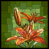 Vector stained glass window with blooming orange lilies and buds. Vector square angular mosaic of blooming orange lilies with buds in green stained-glass window royalty free illustration