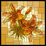 Vector stained glass window with blooming orange lilies and buds. Vector square angular mosaic of blooming orange lilies with buds in yellow stained-glass window stock illustration