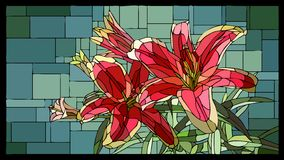 Vector stained glass window with blooming red lilies with buds. Vector angular mosaic with blooming red lilies with buds stained-glass window frame vector illustration