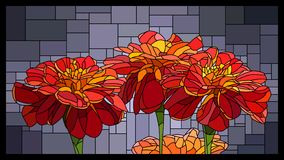 Vector stained glass window with blooming red marigolds. royalty free illustration