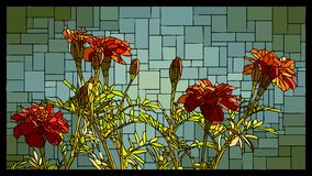 Vector stained glass window with blooming red marigolds. stock illustration
