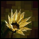 Vector stained glass window with blooming yellow gazania. stock illustration