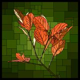 Vector stained glass window with branch with autumn orange leaves. stock illustration