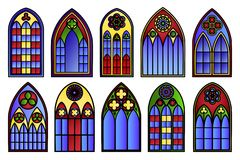 Vector stained glass windows set Royalty Free Stock Images