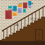 Vector of stair and photo frame Stock Photos