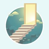 Vector staircase to the door with light Royalty Free Stock Photography
